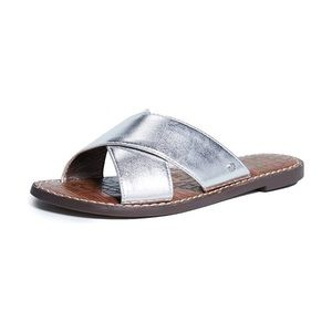 Sam Edelman silver leather flat sandals